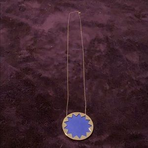 Blue Leather Long Necklace